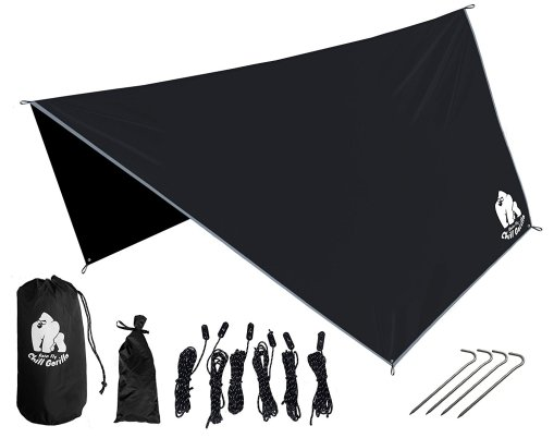 An image of the disassembled Chill Gorilla Hammock Tarp, item number 6 in the list of 10 Best Unique Survival Gifts for Preppers.