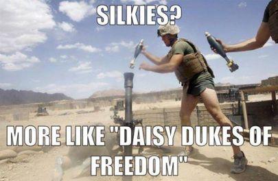 "Image of Marine badass dropping mortars while wearing silkies, with the caption ""Silkies? More Like ""Daisy Dukes of Freedom"". Silkies are item number 10 in the list, Top 10 Unique Survival Gifts For Preppers."